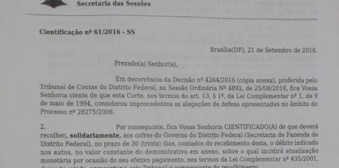 FFDF e ex-presidente são condenados a devolver mais de 3 milhões ao GDF