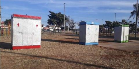Banheiros químicos da praça central de Santa Maria já estão em funcionamento