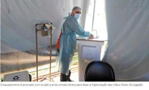 Servidores da UBS 2 de Santa Maria criam estações de higienização