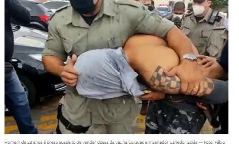 Homem é preso suspeito de vender CoronaVac por app em porta de supermercado em Senador Canedo, diz polícia