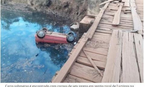 Carro submerso em riacho é encontrado com corpos de seis jovens em Luziânia