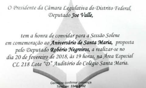 SESSÃO SOLENE EM COMEMORAÇÃO AO ANIVERSÁRIO DE SANTA MARIA