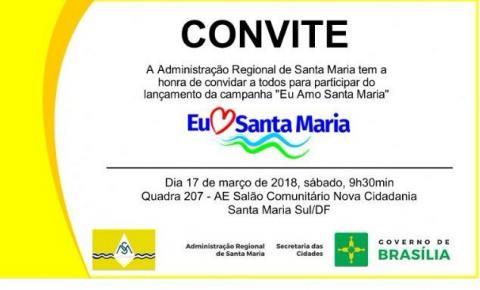 Convite para o lançamento da campanha EU AMO SANTA MARIA