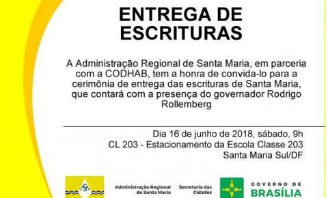 Convite: Entrega de escrituras em Santa Maria