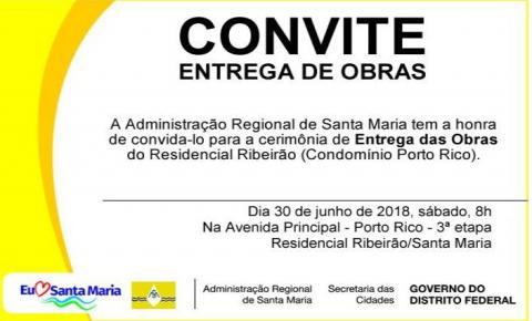 Convite para a cerimônia de entrega das obras do Residencial Ribeirão (Porto Rico) neste sábado
